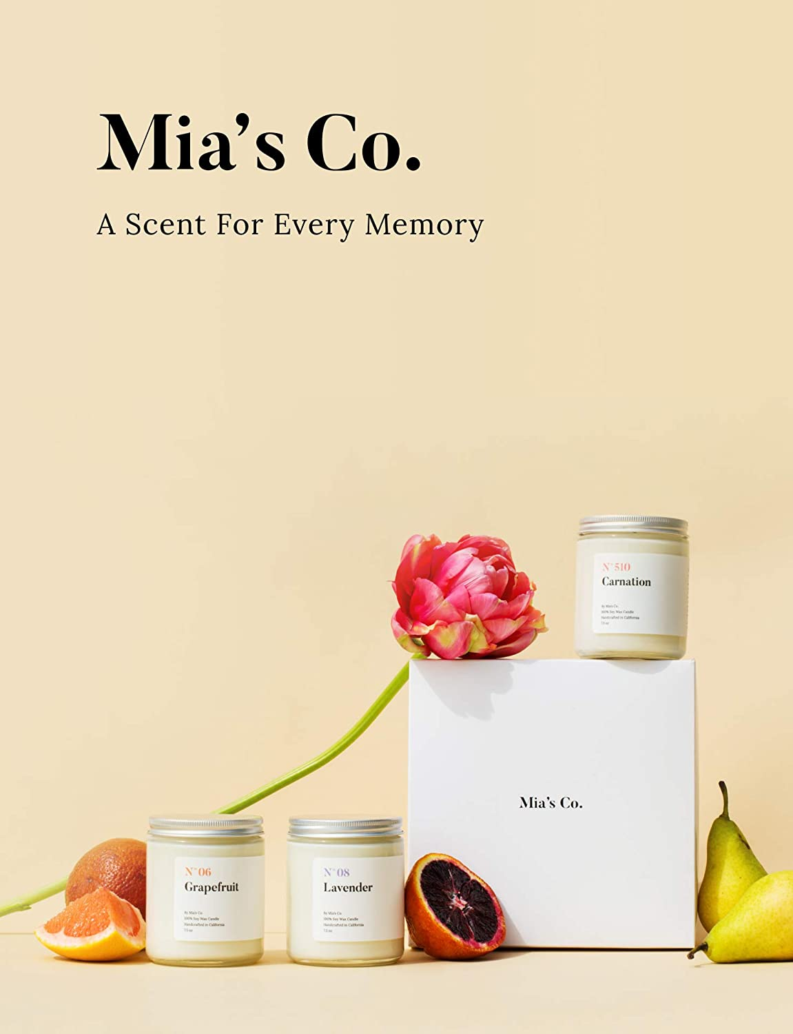 Mias Co Long Lasting Burning for Stress Relief 7.5oz Handcrafted in USA Great Gifts for Her Scented Candles for Home N/°05 Bamboo Highly Scented Luxury Soy Wax