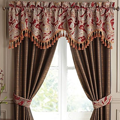 CROSCILL Claret Red VALENTINA Paisley SCALLOPED WINDOW VALANCE