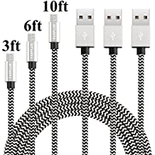 Farplus Micro USB Cable,3Pack 3 6 10 FT Android USB Charger Cable Extra Long Nylon Braided Fast Charging Cords for Samsung/LG/Nexus/HTC/Nokia/MP3/Tablet/Kindle/Windows(Black/Silver)