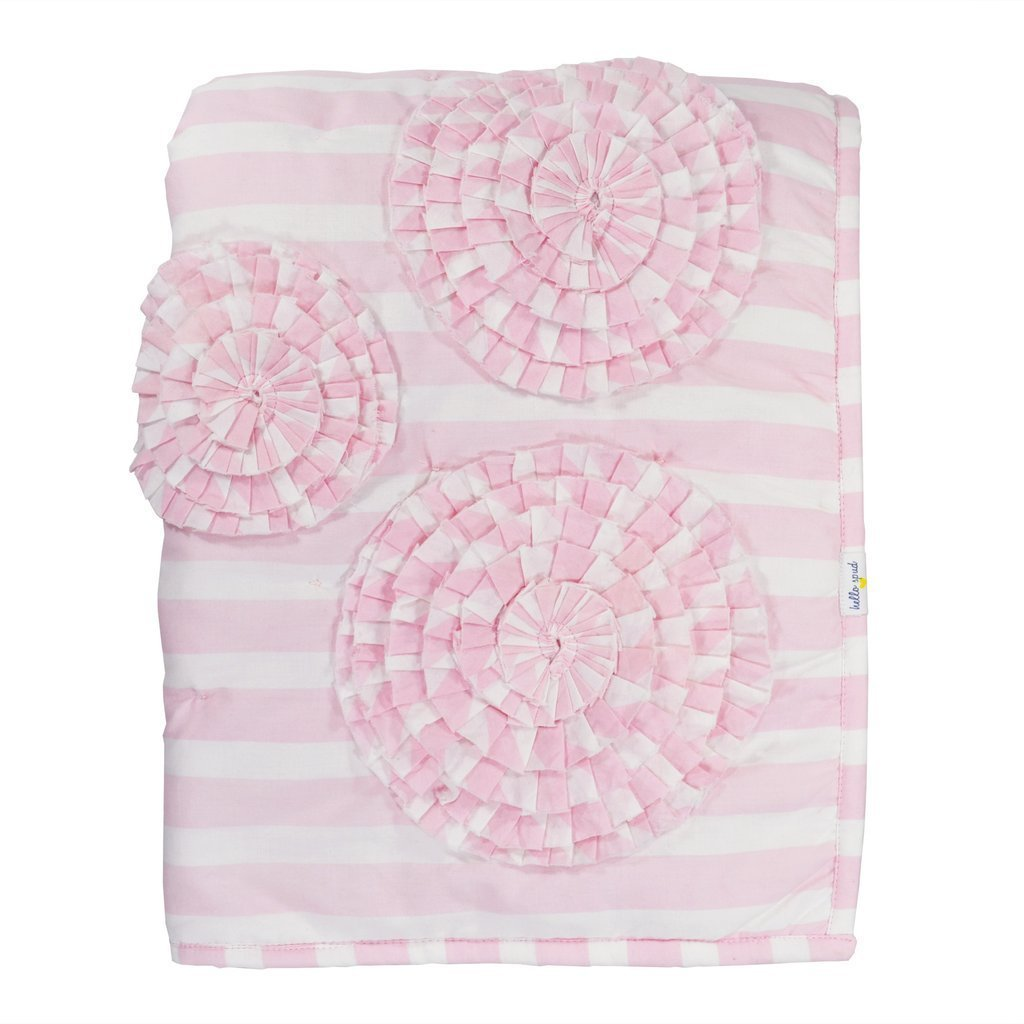 Hello Spud - Quilt - Paris Baby Pink Flower Applique - COTTON - Hand Made