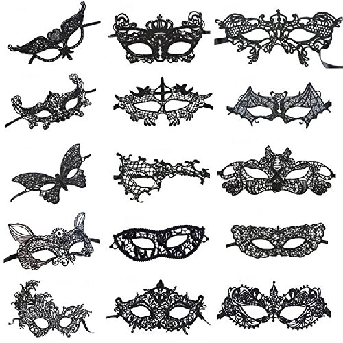 Women's Black Lace Mask Venetian Style Masquerade Ball Party Masks Pack Of 15