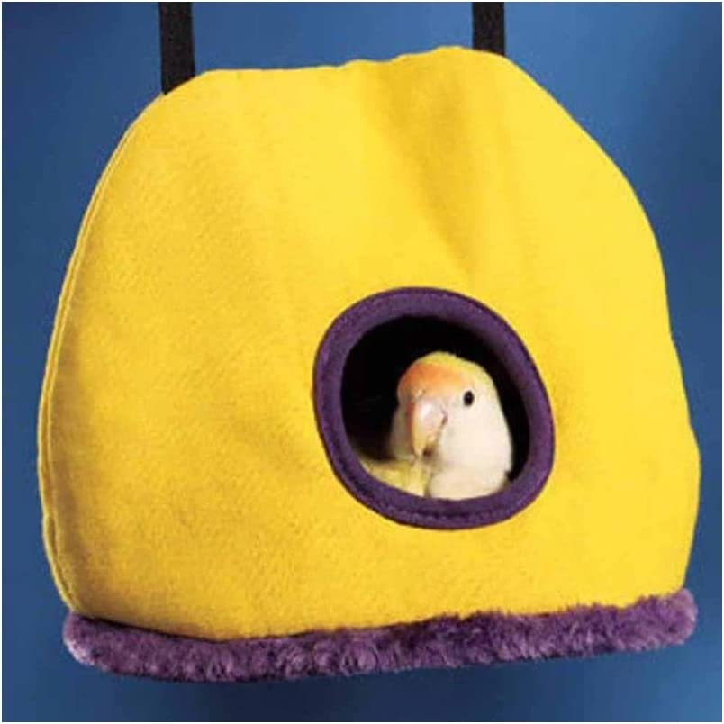 Stock Show Parrot Nest Plush Warm Winter Hanging Hammock Pet Bird Round Hanging Swing Bed Cave Cage Decor Small Animals House Hanging Hammock, Random Color