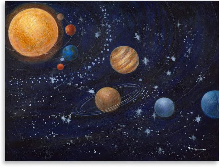 "Solar System Print Poster: Puter Space Planets Canvas Wall Art for Boys Bedroom Decorations Kids Nursery Wall Decor 12""x16"""