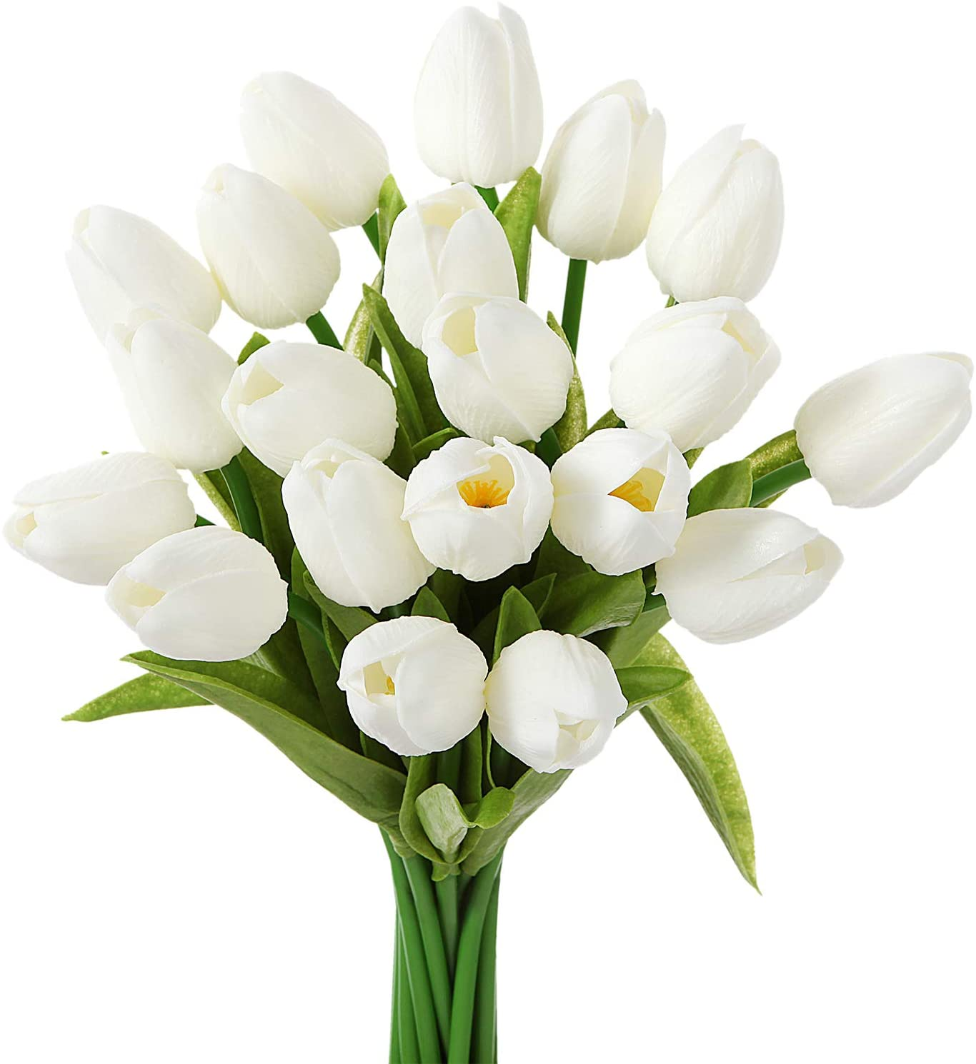 EZFLOWERY 10 Heads Artificial Tulips Flowers Real Touch Arrangement Bouquet for Home Room Office Party Wedding Decoration, Excellent Gift Idea for Mothers Day (10, White)