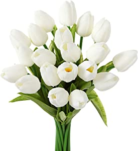 EZFLOWERY 30 Heads Artificial Tulips Flowers Real Touch Arrangement Bouquet for Home Room Office Party Wedding Decoration, Excellent Gift Idea for Mothers Day (30, White)