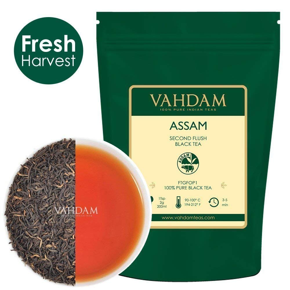 Assam Black Tea Leaves (200+ Cups) I STRONG, MALTY & RICH I 100% Pure Unblended I Single Origin Black Loose-Leaf Tea I Make ICED TEA, Hot Tea