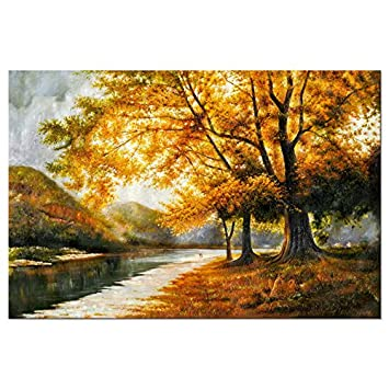 Wieco art giclee canvas prints wall art by oil paintings reproduction large contemporary autumn trees