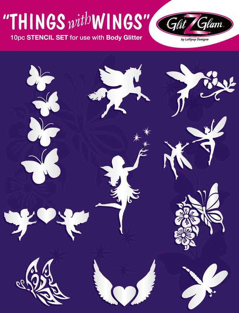 Things with Wings Tattoo Stencil Set for Glitter Tattoos Tattoos for kids 10 PC GlitZGlam