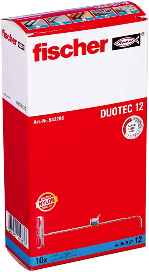 Wall Cupboards and Much More in plasterboard and Plaster fibreboard-Pack of 10-Item no Grey//red 542796 Fischer Duotec 12 Toggle Dowel for Attaching Wardrobes