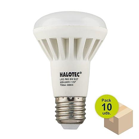 HALOTEC Pack 10 Bombillas Reflectora LED R63 E27 8W 230V 3000K blanco cálido mate