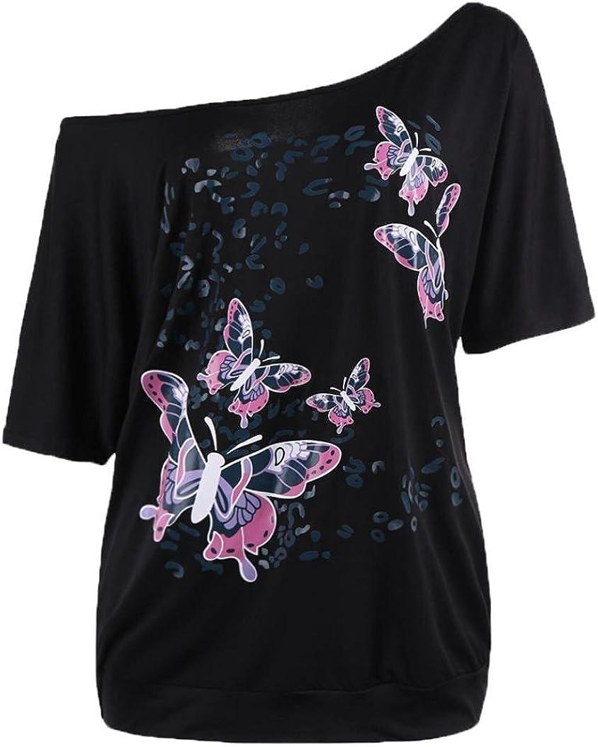 Femmes 2018 Printemps Manches Courtes Papillon Imprim/é Tops Chemisier Paolian T-Shirt