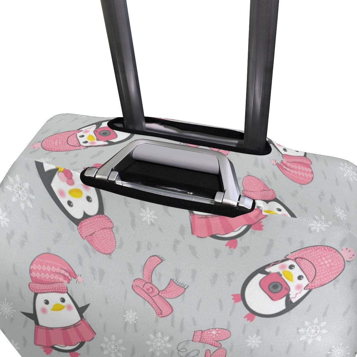 Pink Hat Cute Penguin Travel Luggage Protector Case Suitcase Protector For Man/&Woman Fits 18-32 Inch Luggage