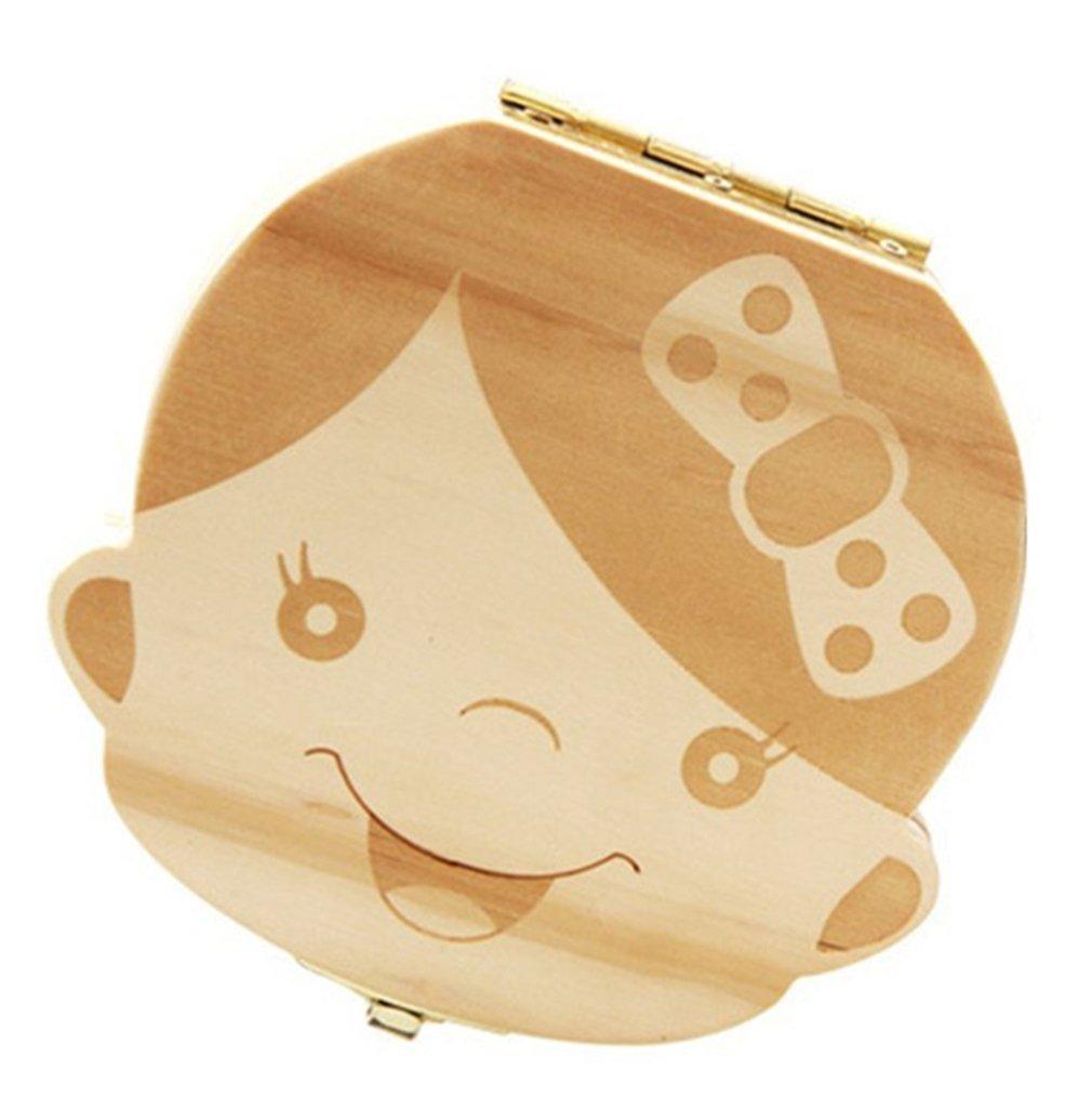 Bebé dientes caja de ahorro organizador colección, aitsite deciduous diente de madera caja de almacenamiento recuerdo para niños niña