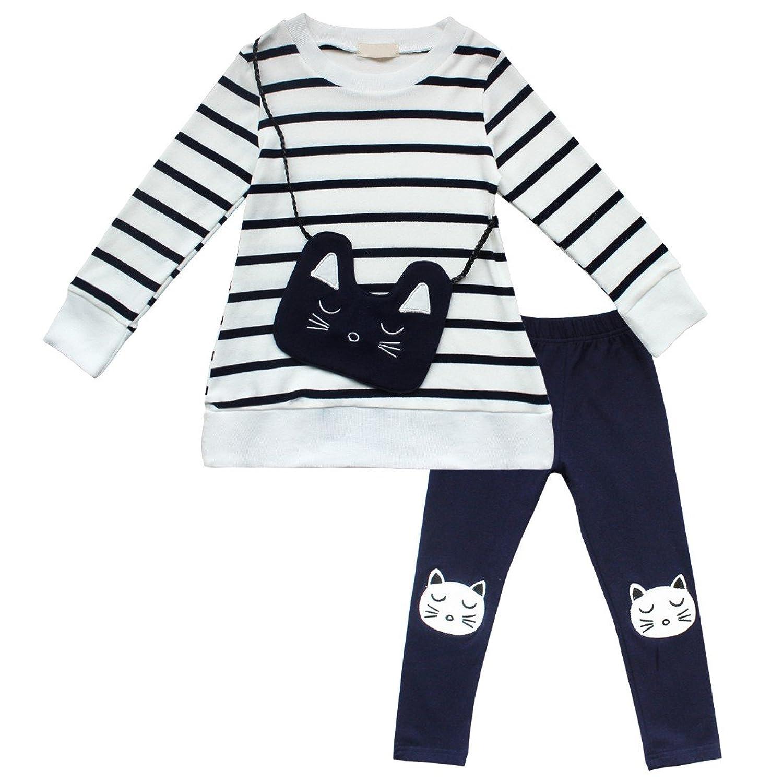iEFiEL Conjuntos para Niña de Gatos Top Camiseta de Manga Larga de Rayas y Pantalones Leggings