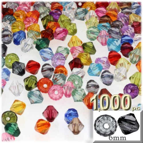 The Crafts Outlet, 1,000-pc Acrylic Bicone Beads, Faceted, 6mm, Multi