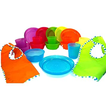 Bibs - Plastic Plates Bowls and Cups in 6 Bright Colors - Durable IKEA BPA Free  sc 1 st  Amazon.com & Amazon.com: Bibs - Plastic Plates Bowls and Cups in 6 Bright Colors ...