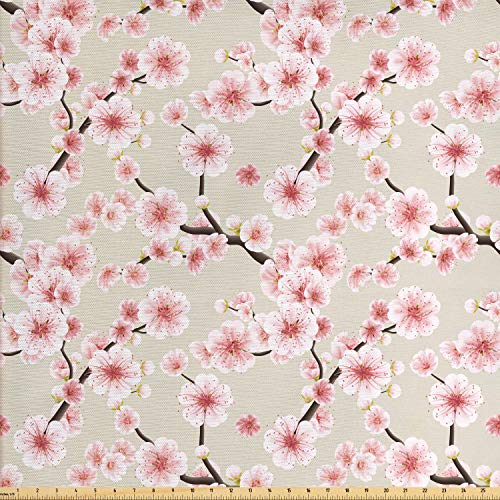 Ambesonne Asian Fabric by The Yard, Japanese Flowering Cherry Blossom Symbolic Coming of Spring Season Eastern Inspired, Decorative Fabric for Upholstery and Home Accents, 3 Yards, Beige Rose