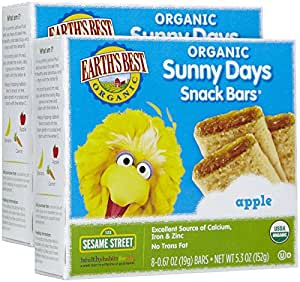 Earth's Best Sesame Street Sunny Days Snack Bars - Apple - 5.3 oz - 2 pack