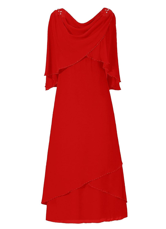 Dresstells? Column Chiffon Scoop Prom Dress with RufflesEvening Dress Bridesmaid Dress
