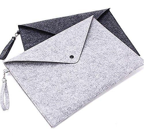 (File folders-Felt Folder Expanding File Folder Portable Felt Holder documents Envelope Luxury Office Durable Briefcase Document Bag Paper Portfolio Case Letter Envelope A4 Folders (with Lanyard))
