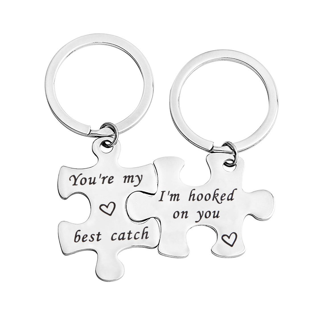 bobauna His And Hers Puzzle Piece Keychain Set of 2 Hooked On You My Best Catch Anniversary Gift For Couples Boyfriend Girlfriend (hook catch set)