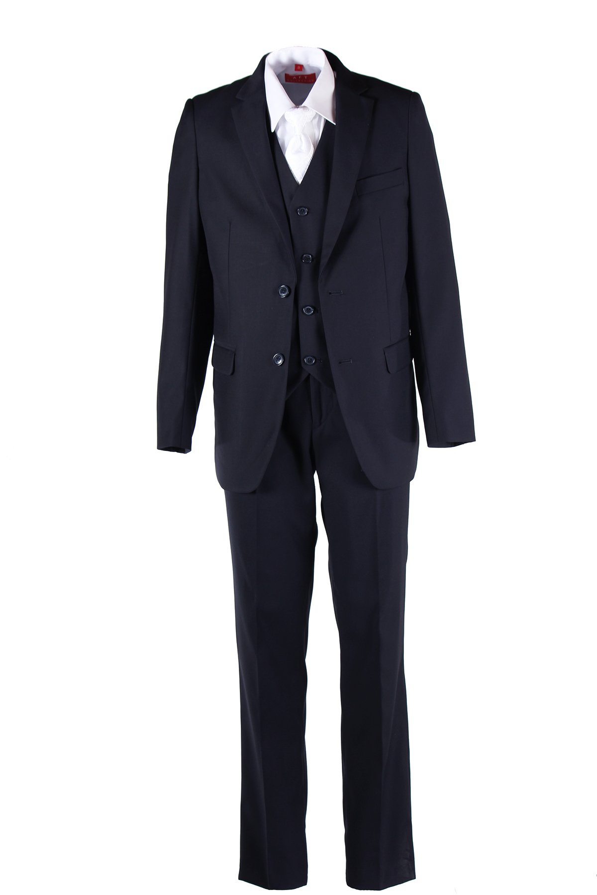 Boys Navy Blue Slim Fit Communion Suit with Vest & White Clergy Tie (8 Boys)