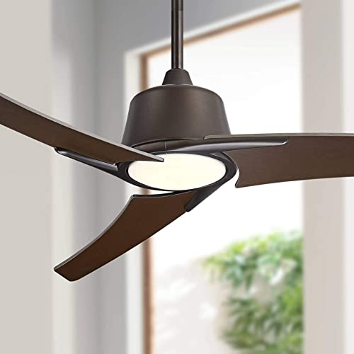 48 The Matrix Modern Ceiling Fan with Light LED Dimmable Remote Control Oil Rubbed Bronze Frosted White Glass for Living Room Kitchen Bedroom Family Dining – Casa Vieja
