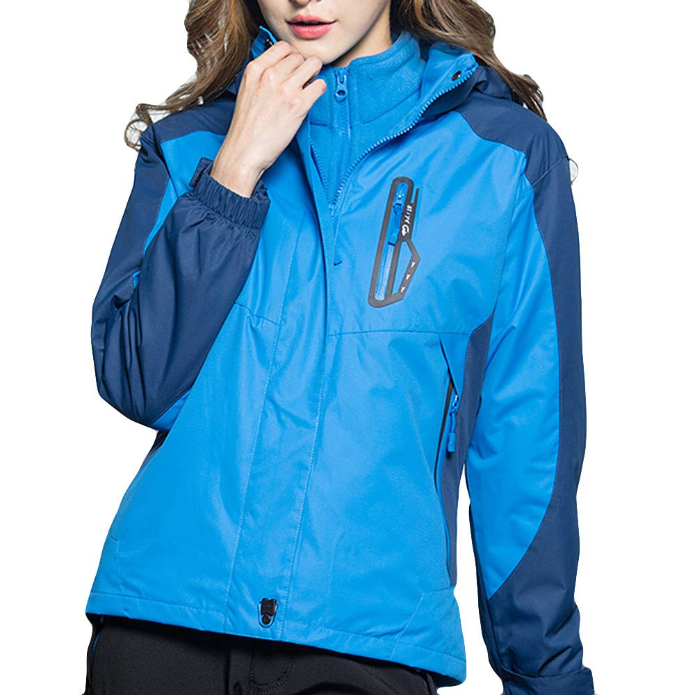 bluee XUANOU Woman's Winter Coat Two Piece Three in One Outdoor Breathable Warm Coat