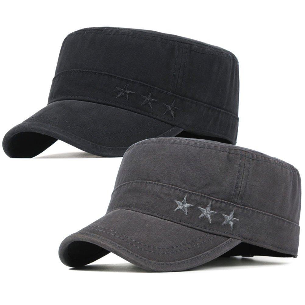 e65ef7f9 2 Pack Men's Cotton Army Cap Cadet Hat Military Flat Top Adjustable  Baseball Cap (Black/Dark Grey)