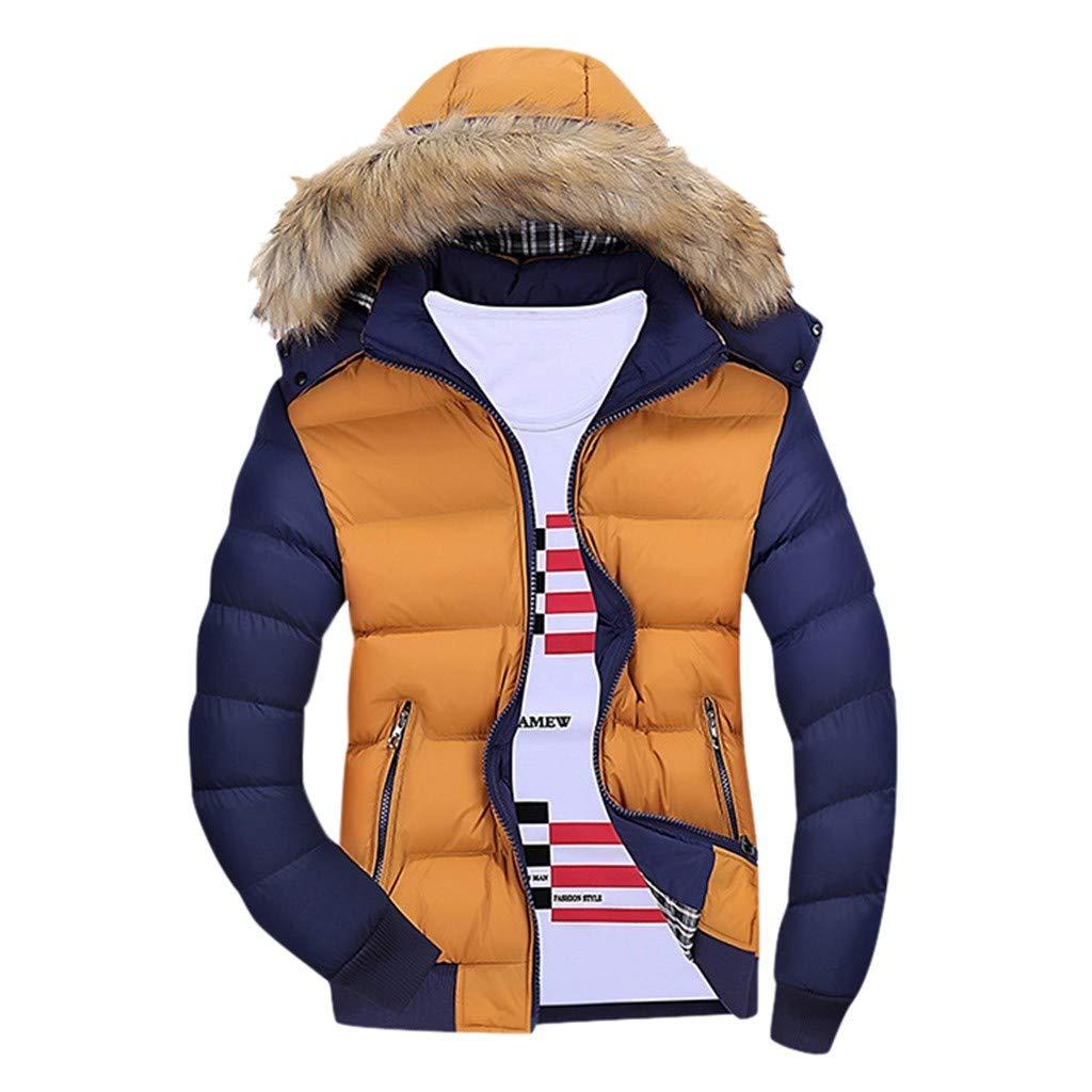 VZEXA MensOutwear Winter Warm Hooded Jacket Zipped Contrast Color Long Sleeve Coat (Orange,4XL) by VZEXA