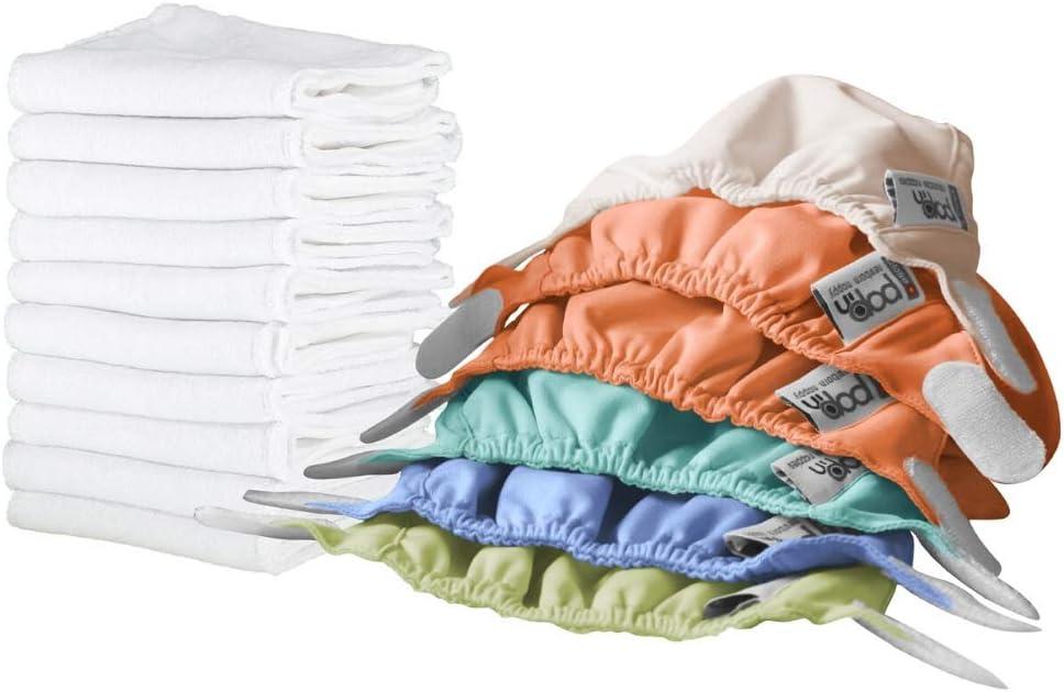 Close Pop-in Pañales Lavables de Tela- 6 Pcs Pañales Lavables de Viscosa de Bambú para Bebé, Pañales Ajustable y Reutilizable para Bebés con Bolsas de Almacenamiento, 48, Pack de 16