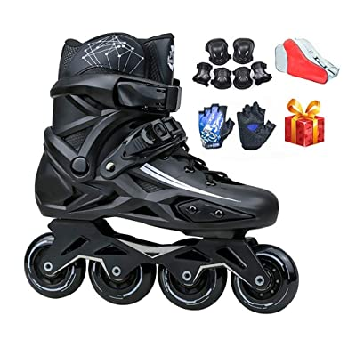 Sljj Adult Indoor Outdoor Professional Black Inline Skates Combo, Comfortable Speed Roller Skates for Beginner White (Color : Black, Size : 42 EU): Home & Kitchen