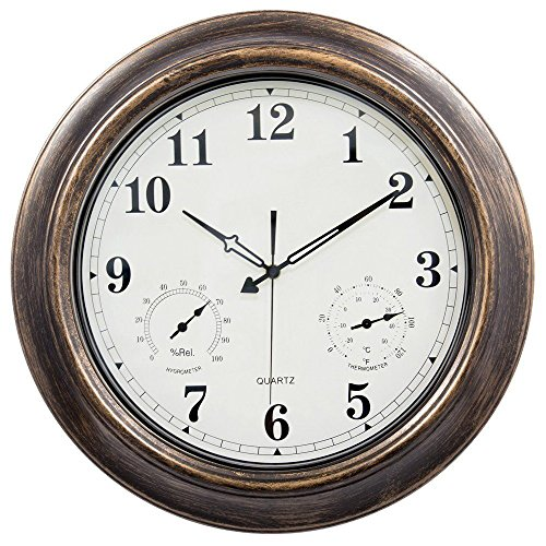Waterproof 18 inch Wall Clock,Ing-Never Stop Indoor/Outdoor clock with Temperature and Humidity - Silent Movement by Ing-Never Stop