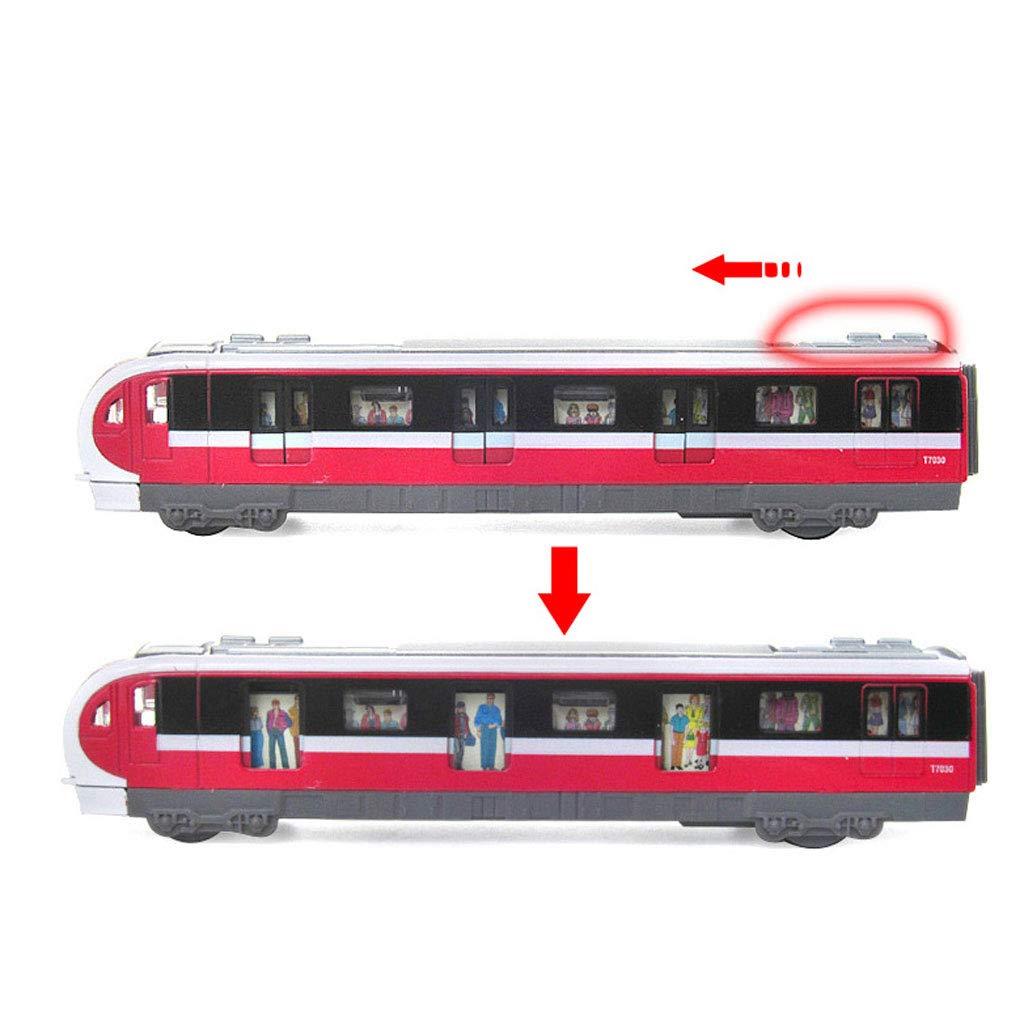 Kinder Spielzeugauto Multi-Sound Multi-Sound Multi-Sound Stadt U-Bahn Modell Alloy Intercity-Eisenbahnwaggons Modell mit Ton und Licht (Farbe : ROT) 0a0369