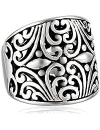 Sterling Silver Bali Inspired Filigree Ring, Size 7