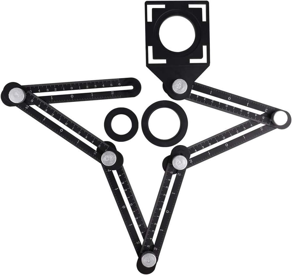 plantilla de metal Xueliee 6 regla de medici/ón multi/ángulo plegable de cer/ámica para agujeros de azulejos accesorios con gu/ía de taladro para artesanos carpinteros artesanos