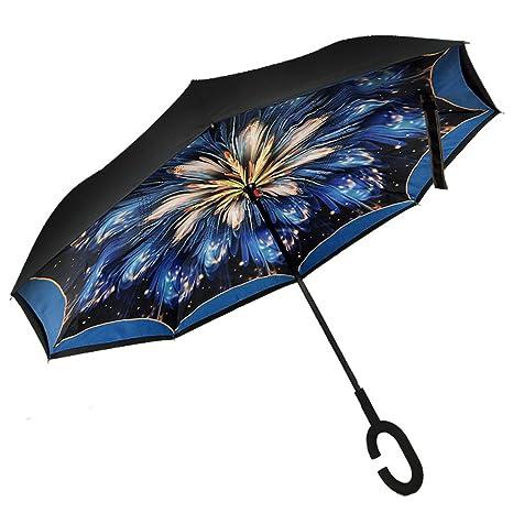 Invertido Paraguas,Edith qi Doble Capas UV Soleado El Paraguas,C Forma Manos Libres