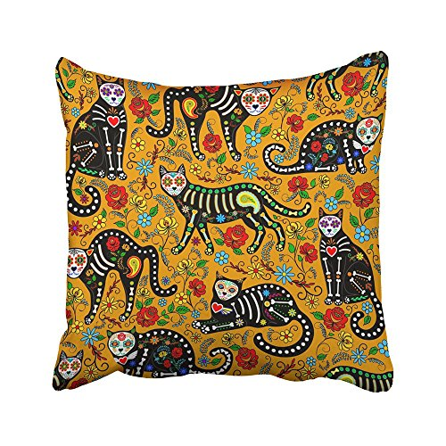 Emvency Decorative Throw Pillow Covers Cases Dead with Calavera Sugar Skull Black Cats in Mexican Style for Holiday the Dia De Muertos Day 18x18 Inches Pillowcases Case Cover Cushion Two Sided -