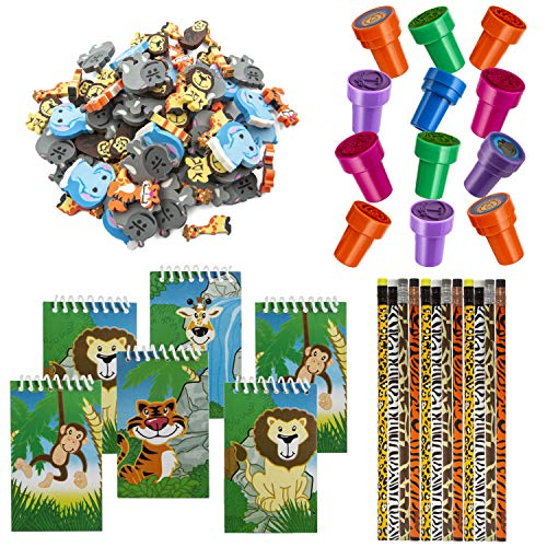 FavonirTM Zoo Stationery Party Favors 84 Gift Pack - 48 Erasers - 12 Animal Notepads - 12 Pencils - 12 Stickers - Kids Party Supplies Bulk Set - Ideal As Safari Party Favor Novelty Goody Bag Stuffer, Reward Prizes, Carnival And Birthday Events.