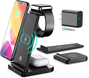 2021 Upgraded Wireless Charger, Detachable 3 in 1 Wireless Charging Station Apple, Qi-15W Wireless Charger Stand for Apple Watch, iPhone 12/11/Pro Max X XS XR 8,Watch Series 6 5 4 3 2 AirPods Pro/2