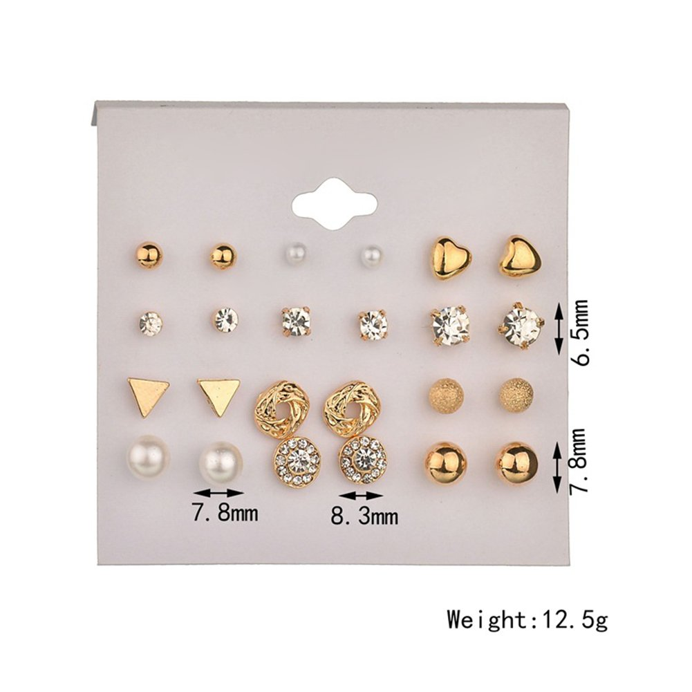 7abc3c1c6 Amazon.com: 12 Pair Stud Earrings Set Crystal Artificial Pearl Earring  Variety Assorted Novelty Studs Earrings Set for Women (Gold): Jewelry