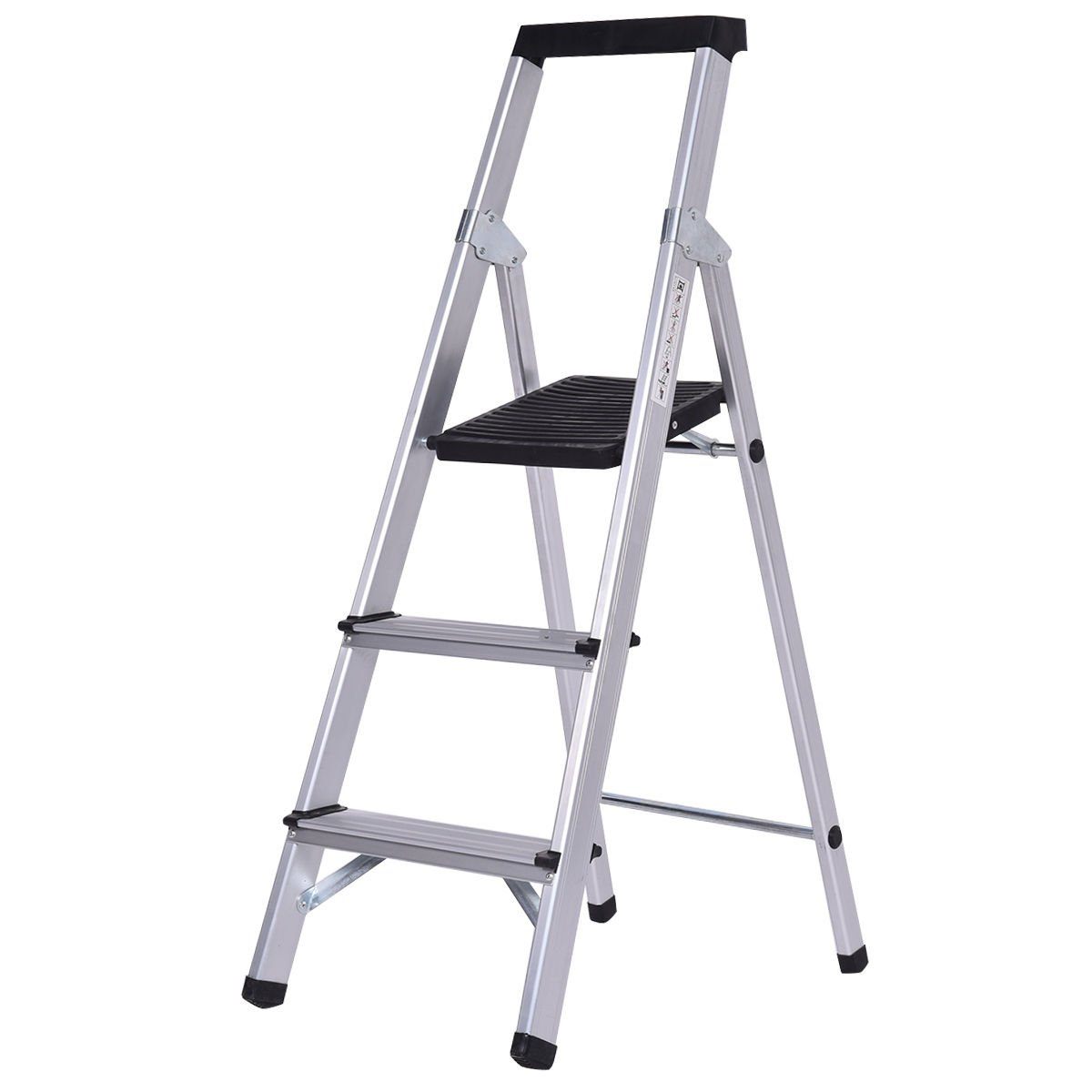 AyaMastro Foldable Aluminum 3 Step Ladder Work Stool with Ebook