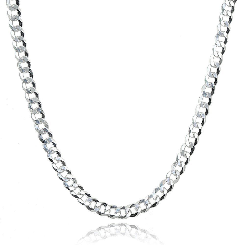 Hoops & Loops Sterling Silver Italian 2.5mm Diamond-Cut Cuban Curb Link Chain Necklace, 17 Inches