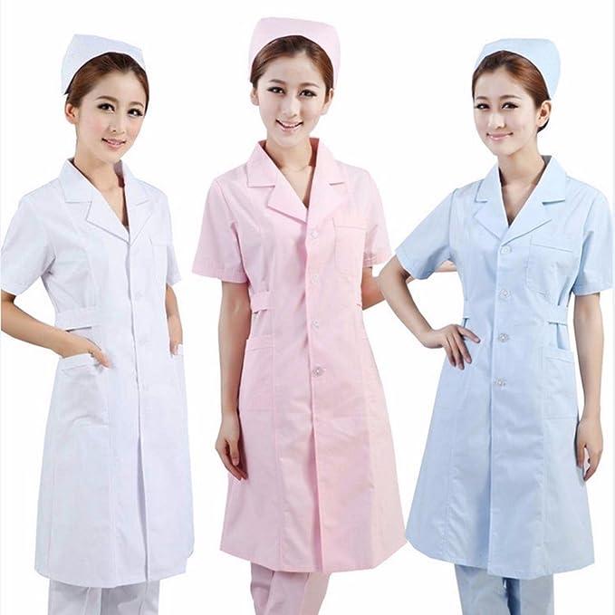 Xuanku De Manga Corta Vestido De Bata Blanca, Medico, Farmacia Pasante Esteticista Es Ropa