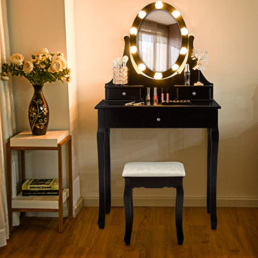 Giantex Vanity Set with Lighted Mirror, Makeup Table with 10 Rose Light,  Modern Dressing Desk with Cushioned Stool, 3 Drawers and 360° Rotating  Mirror ...