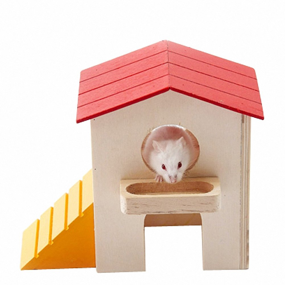 OMEM Hamster Swing Toys,Small Animal Hideout, Pet Mini Hut,Hamster Cabin,Hamster Cages,Pet Wooden Toys,Pet Hamster Toys
