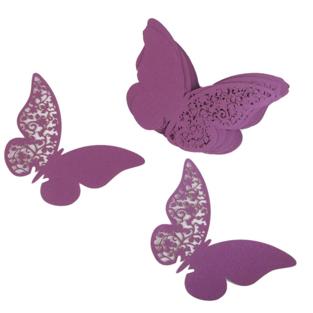 Lot de 50pcs Carte de Verre Marque Place Forme de Papillon Décoration de Table (Rose) Générique STK0115015401