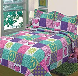 Fancy Collection 2 pc Bedspread Teens/Girls safri pink purple peace sign new Twin Extra Long New
