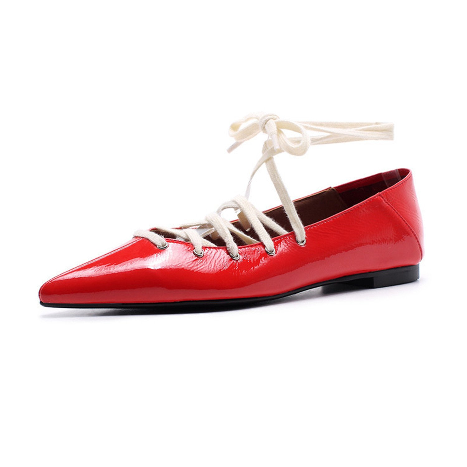 Dormery 2018 Sexy Red Flat Heels Pointed Toe Wedding Shoes Lace Up Patent Leather Mules Shoes Plus Size Women Casual Loafers C792