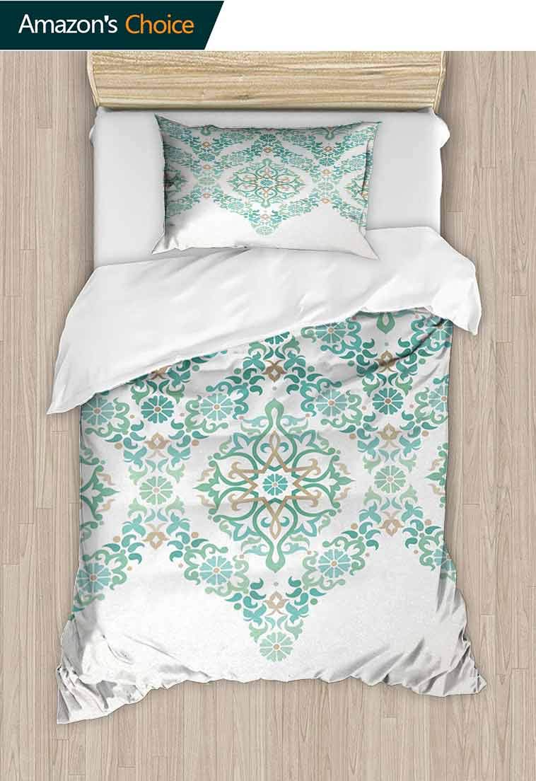 Traditional Printed Quilt Cover and Pillowcase Set, Retro Middle Age Symmetrical Traditional Gothic Garland Forms in Pastel Print, Reversible Coverlet, Bedspread, Gifts for Girls Women Green Tan